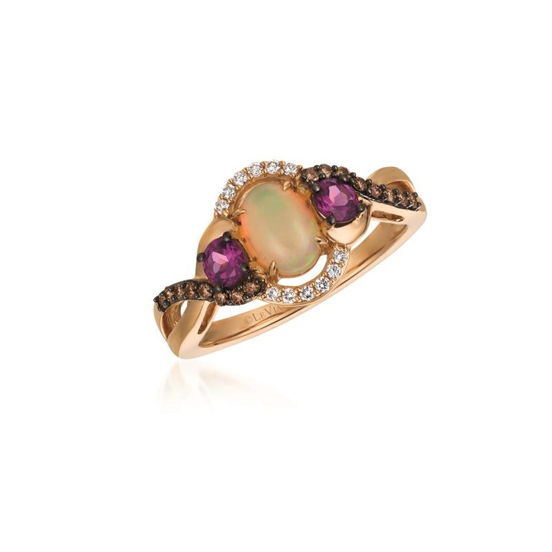 Le Vian 14K Strawberry Gold® Neopolitan Opal™ & Raspberry Rhodolite® Ring