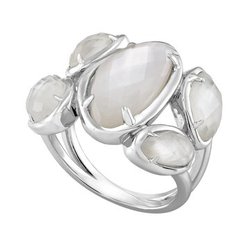 Mother of Pearl Doublet Geometric Ring