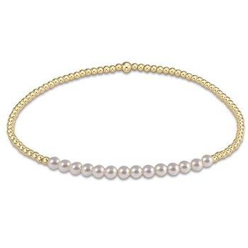 Bliss 2mm Bead Bracelet - Pearl & Gold