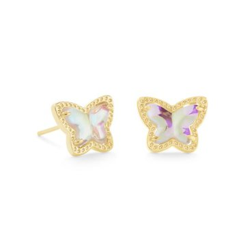 Lillia Butterfly Studs in Dichroic Glass