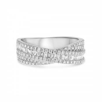 Diamond Crisscross Baguette Ring