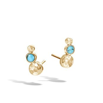 Hammered Stud Earring with Turquoise