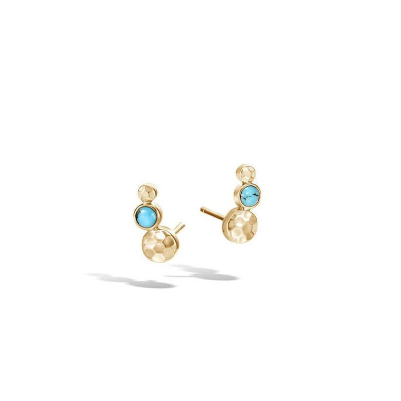 John Hardy Hammered Stud Earring with Turquoise