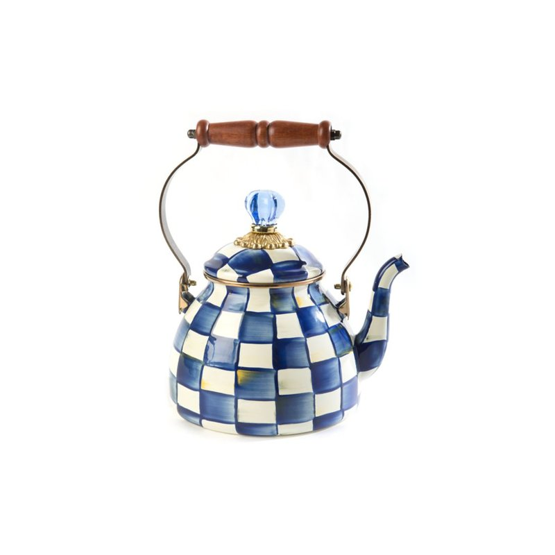 MacKenzie-Childs Royal Check Enamel Tea Kettle - 2 Quart