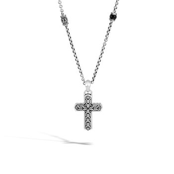 Classic Chain Cross Pendant Necklace in Black Onyx