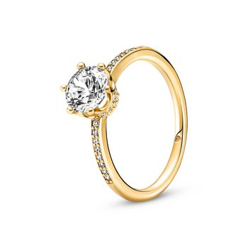 Clear Sparkling Crown Solitaire Ring