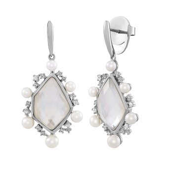 Mother of Pearl Doublet Geometric Drop Earrings