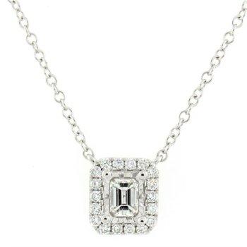 Emerald Halo Diamond Necklace