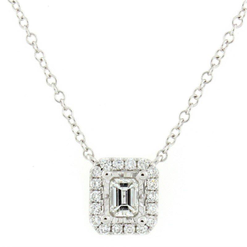 Kelley Collection  Emerald Halo Diamond Necklace