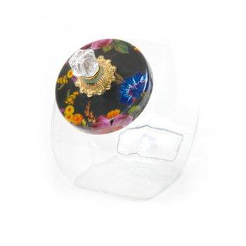 Cookie Jar with Flower Market Enamel Lid - Black