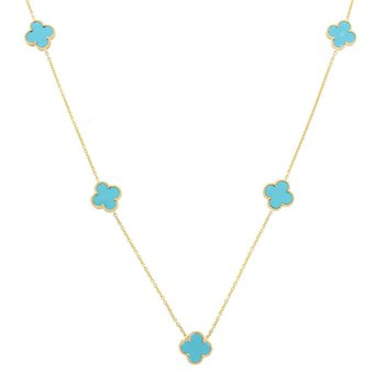 Turquoise Clover Station Necklace