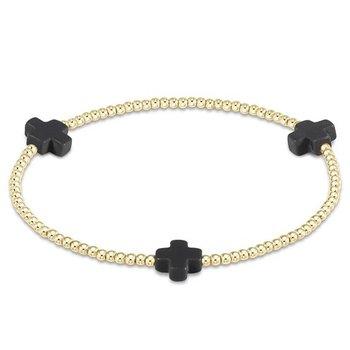 Signature Cross Pattern Bracelet - Charcoal