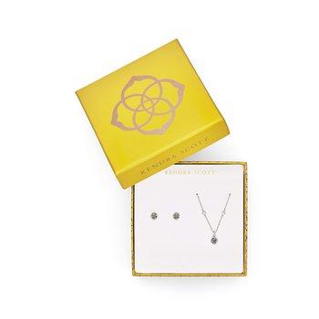 Nola Necklace & Stud Gift Set in Platinum Drusy
