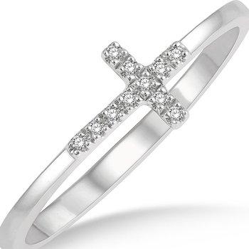 Diamond Sideways Cross Ring