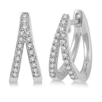 Split Diamond Huggie Earrings