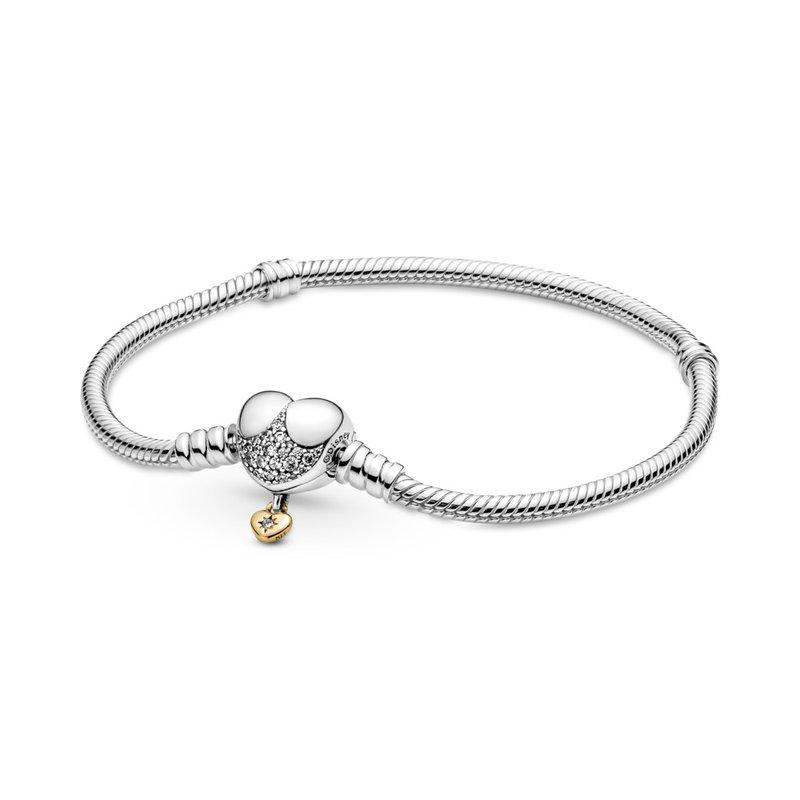 PANDORA Disney Pandora Moments Heart Clasp Snake Chain Bracelet