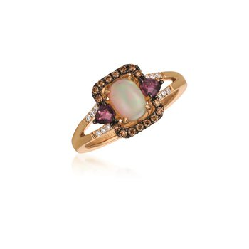 14K Strawberry Gold® Neopolitan Opal™ & Raspberry Rhodolite® Ring