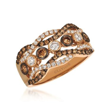 14K Strawberry Gold® Chocolate & Vanilla Diamond® Ring