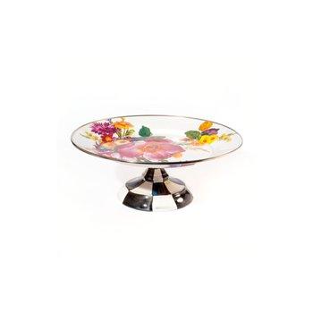 Flower Market Pedestal Platter - White