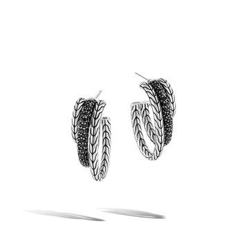Classic Motif Pavé J Hoop Earrings