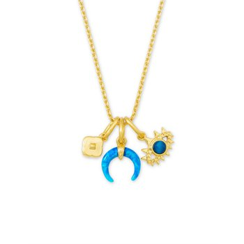 Gemma Charm Necklace in Teal Mix