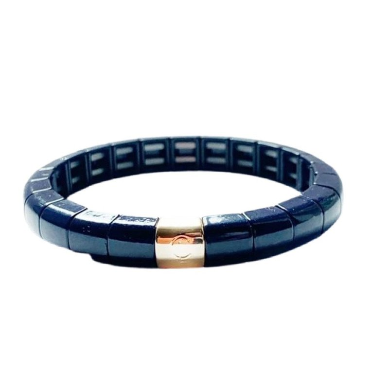 Caryn Lawn Tile Tube Bracelet-Navy