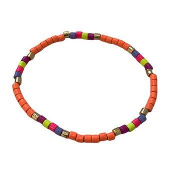 Seashore Tube Bracelet - Neon Orange Multi