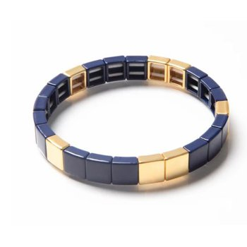 Tile Bead Bracelet-Navy/Gold
