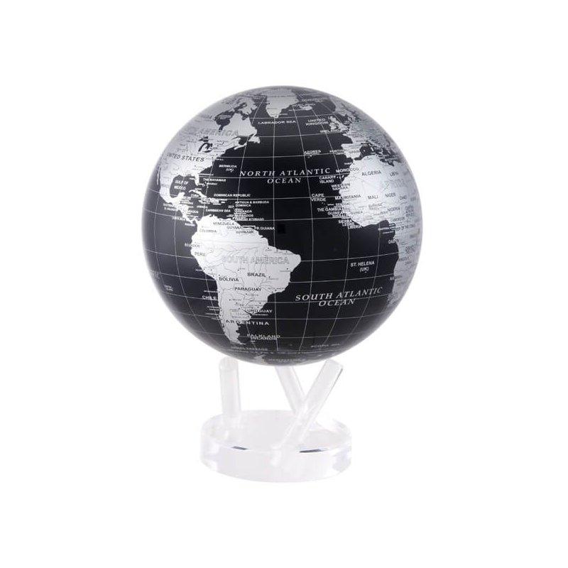 "Mova Globes 8.5"" Silver & Black Metallic Globe"