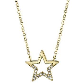 Open Star Diamond Pendant