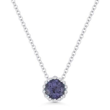 Alexandrite & Diamond Halo Pendant