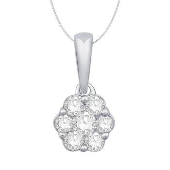 Diamond Cluster Flower Pendant
