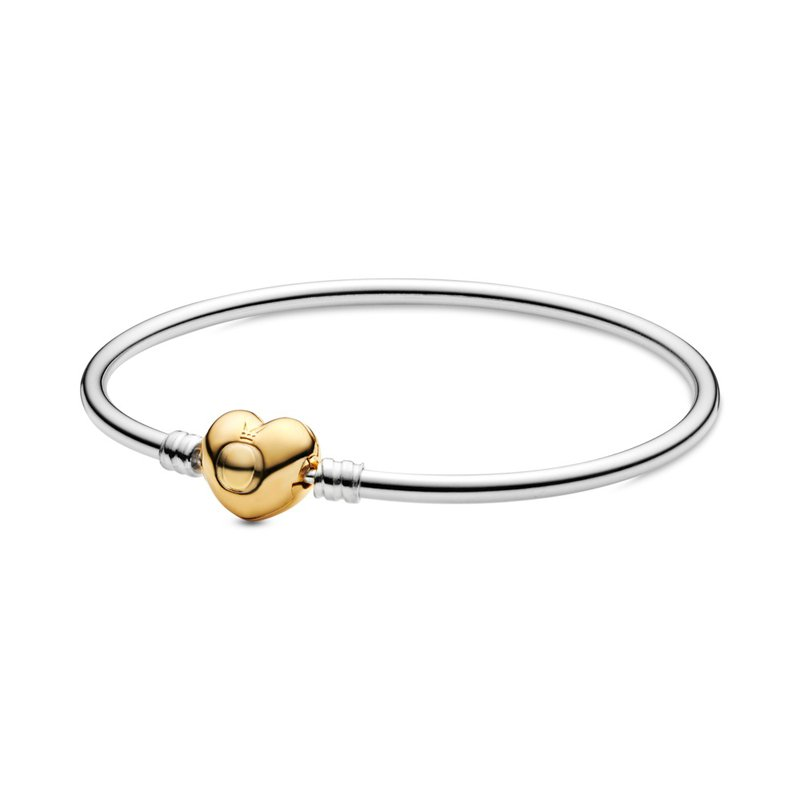 PANDORA SHINE Logo Heart Clasp Bangle Bracelet