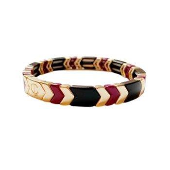 Tile Bead Bracelet Arrow- Wine & Navy