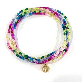 Seed Bead Bracelet Set - Spring Purple
