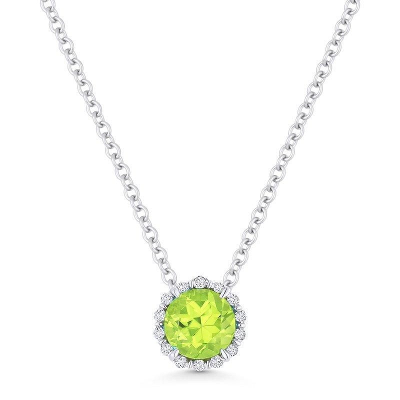 Kelley Collection  Peridot  & Diamond Halo Pendant