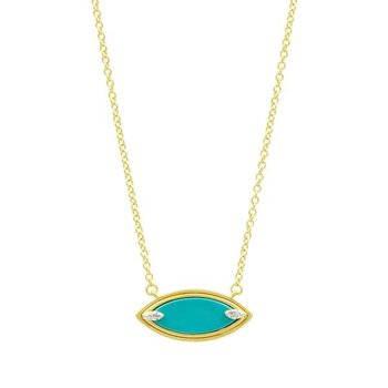 Fleur Bloom Empire Turquoise Pendant Necklace