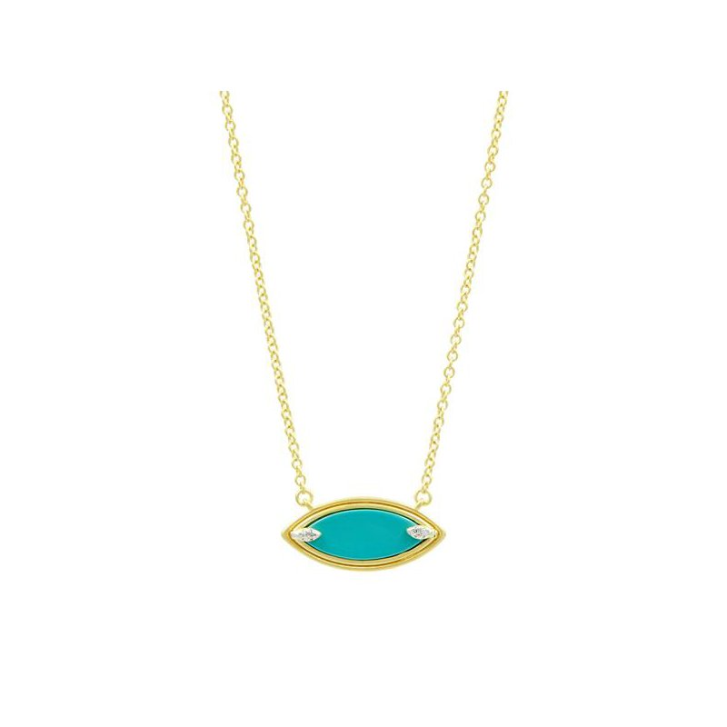 Freida Rothman Fleur Bloom Empire Turquoise Pendant Necklace