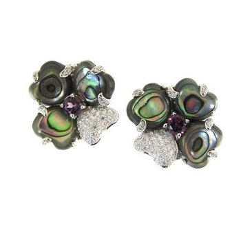Abalone Design Earrings With Rhodolite Garnets