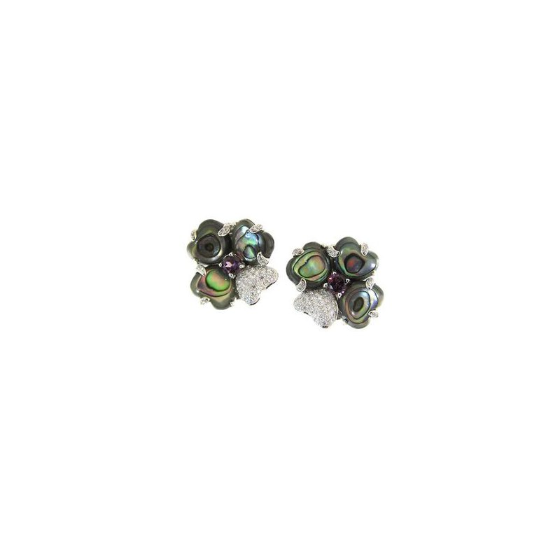 Kelley Collection  Abalone Design Earrings With Rhodolite Garnets