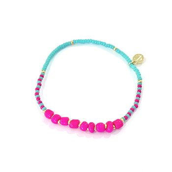 Surfside Beaded Bracelet - Turquoise & Hot Pink