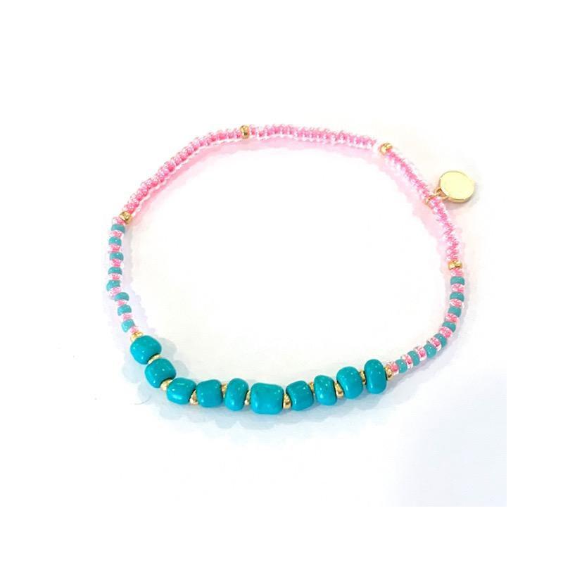 Caryn Lawn Surfside Beaded Bracelet - Pink/Turquoise