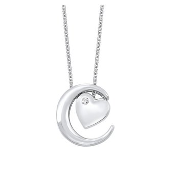 Crescent Moon & Heart Pendant