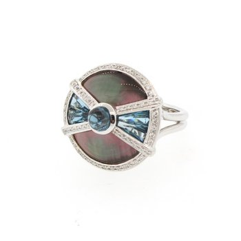 Circle Of Love II Mother-Of-Pearl & London Blue Topaz