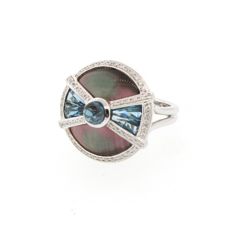 Kelley Collection  Circle Of Love II Mother-Of-Pearl & London Blue Topaz