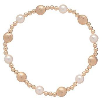 Honest Gold Sincerity Pattern Bead Bracelet - Pearl