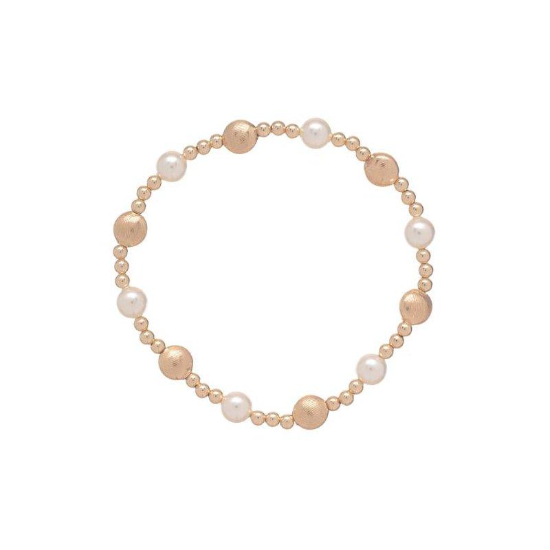ENewton Design Honest Gold Sincerity Pattern Bead Bracelet - Pearl