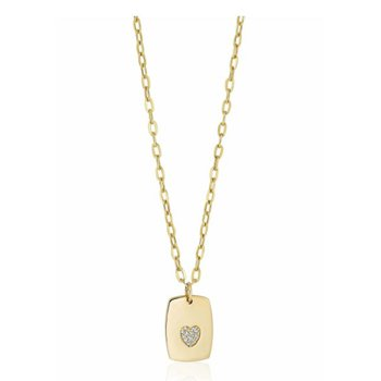 Pave Heart Dog Tag