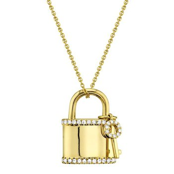Diamond Lock & Key Necklace