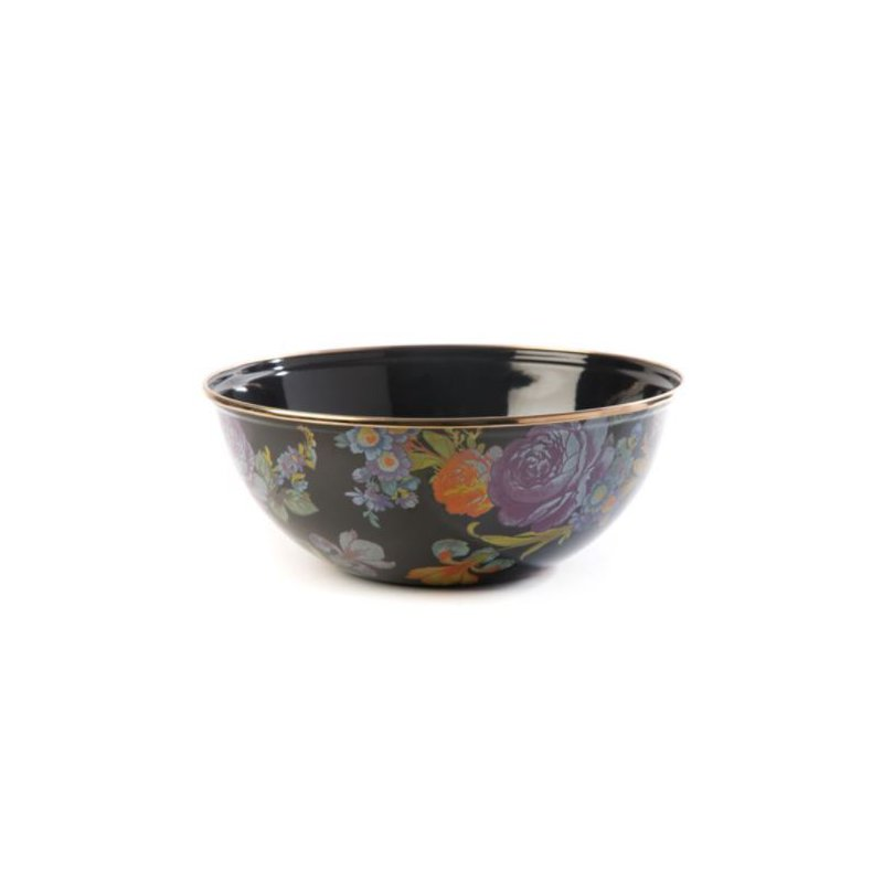 MacKenzie-Childs Flower Market Medium Everyday Bowl - Black